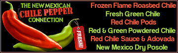 Buy New Mexico frozen flame roasted chile, fresh green chile, red chile pods, red & green chile powder, red chhile sauce, adovada, dry posole, fry bread and sopaipilla mixes online