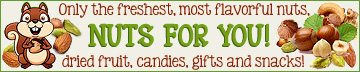 Buy nuts, dried fruit, candies, snacks, homemade fudge, custom gift baskets and tins