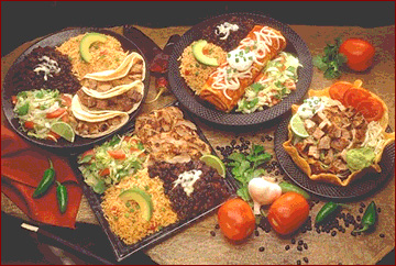 Choose from a variety of delisious traditional Mexican dishes as shown here. Burritos, Fajitas, Fish tacos, shrimp, steaks chicken and more.